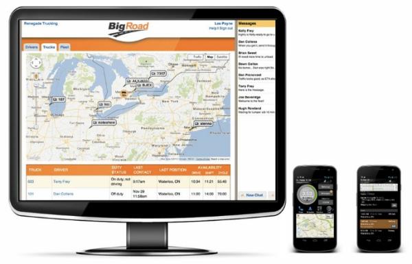 BigRoad electronic logs driver app fleet