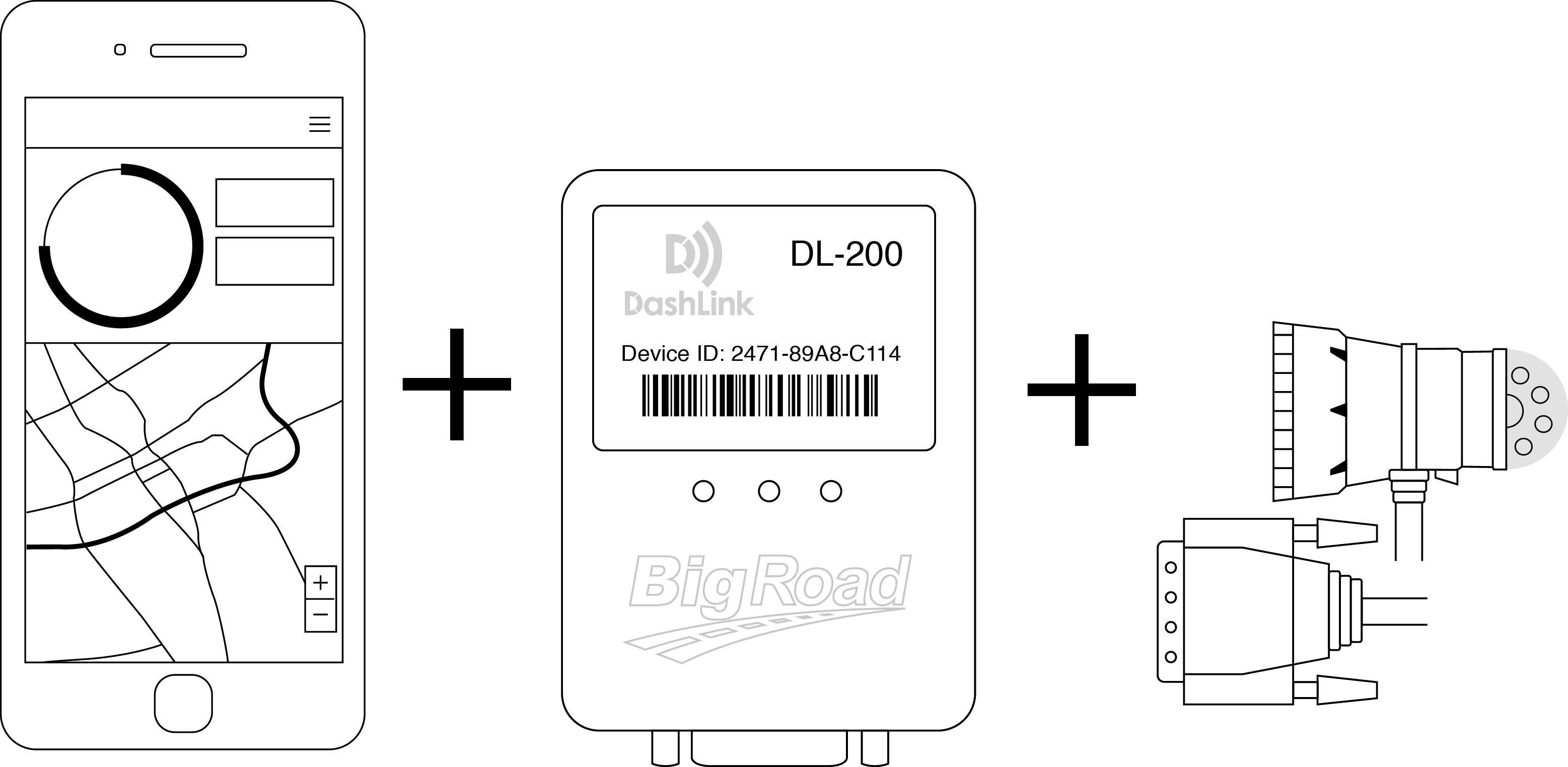 BigRoad's compliance solutions: BigRoad Mobile App, DashLink ELD, and Cord