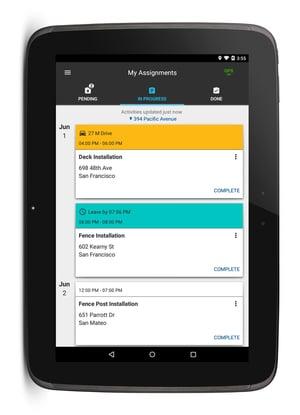 Nexus tablet displaying pending tasks in the Fleet Complete Task Tracker App.
