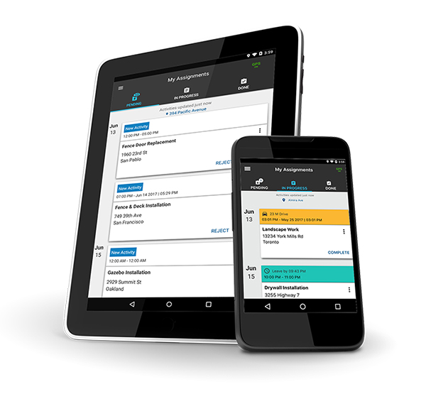 Tablet and Mobile with Task Tracker app open.