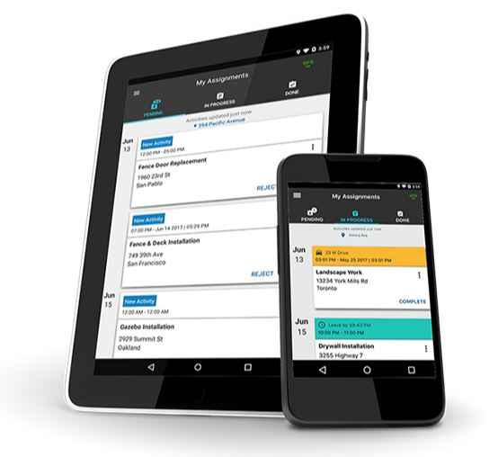 Tablet and mobile phone showing screenshots of pending tasks in the Fleet Complete Task Tracker app.