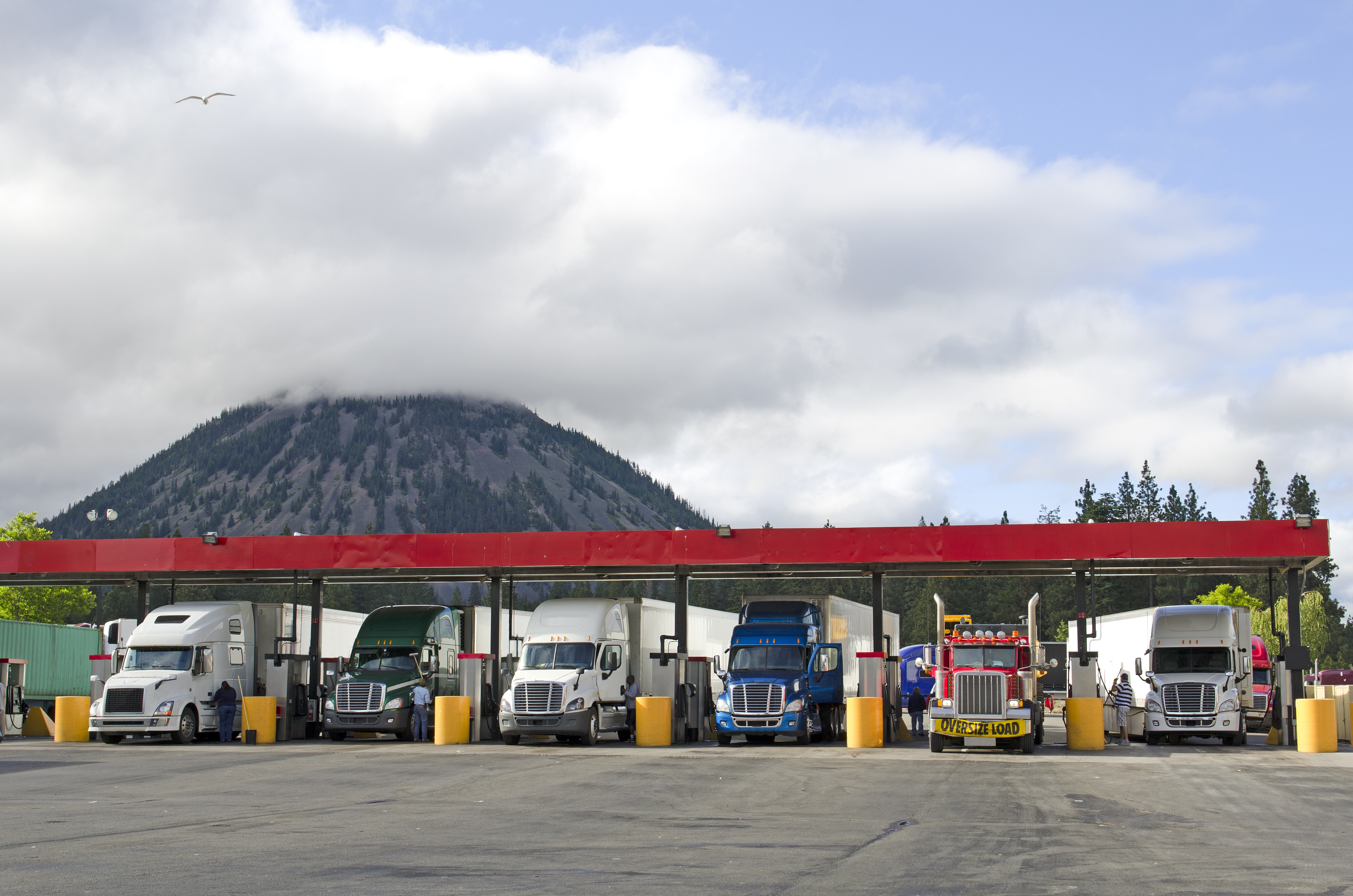 Trucks at a Gas Station