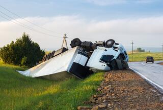 A Truck in a Ditch After an Accident