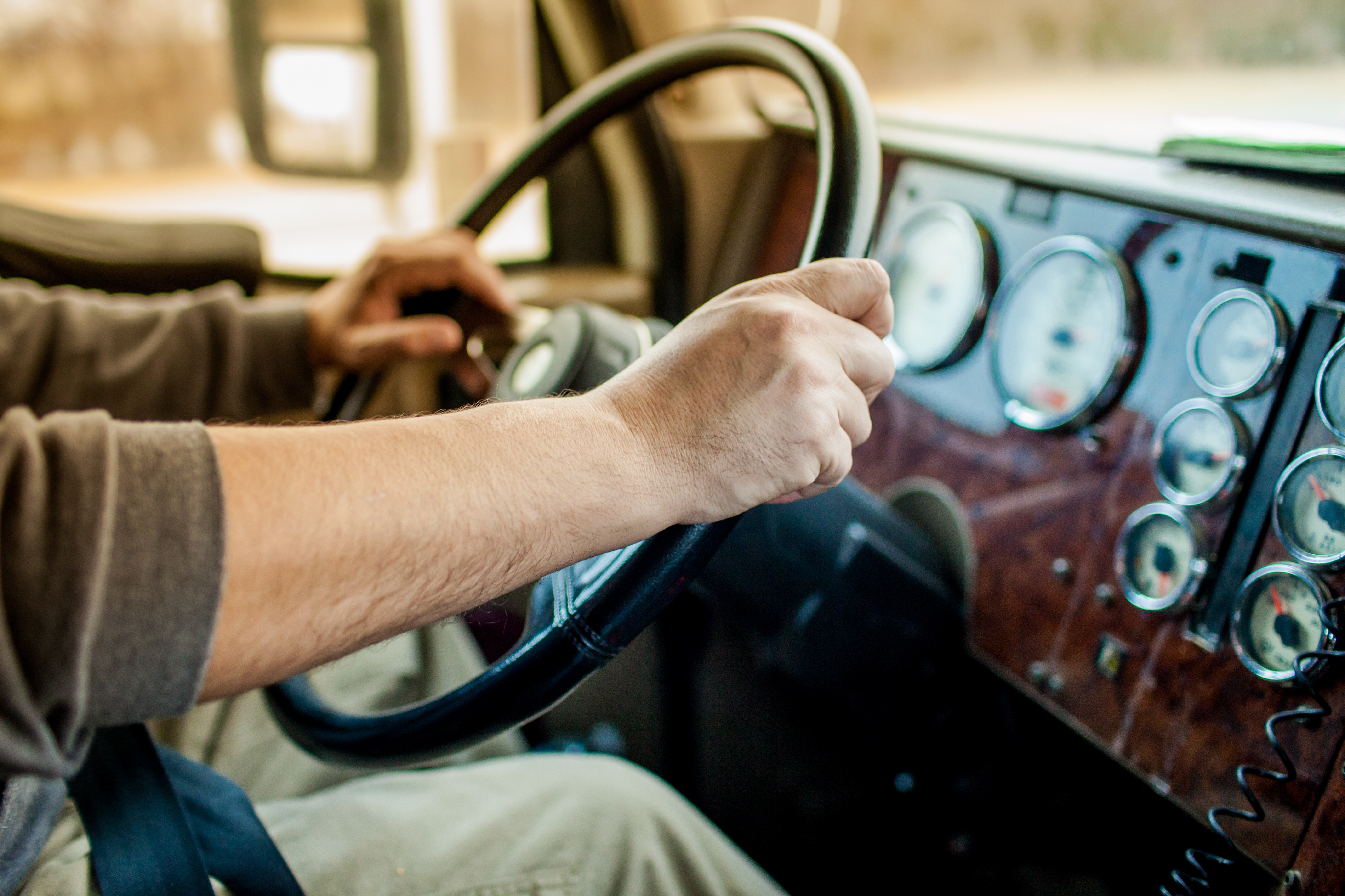 Truck Driver Gripping Steering Wheel