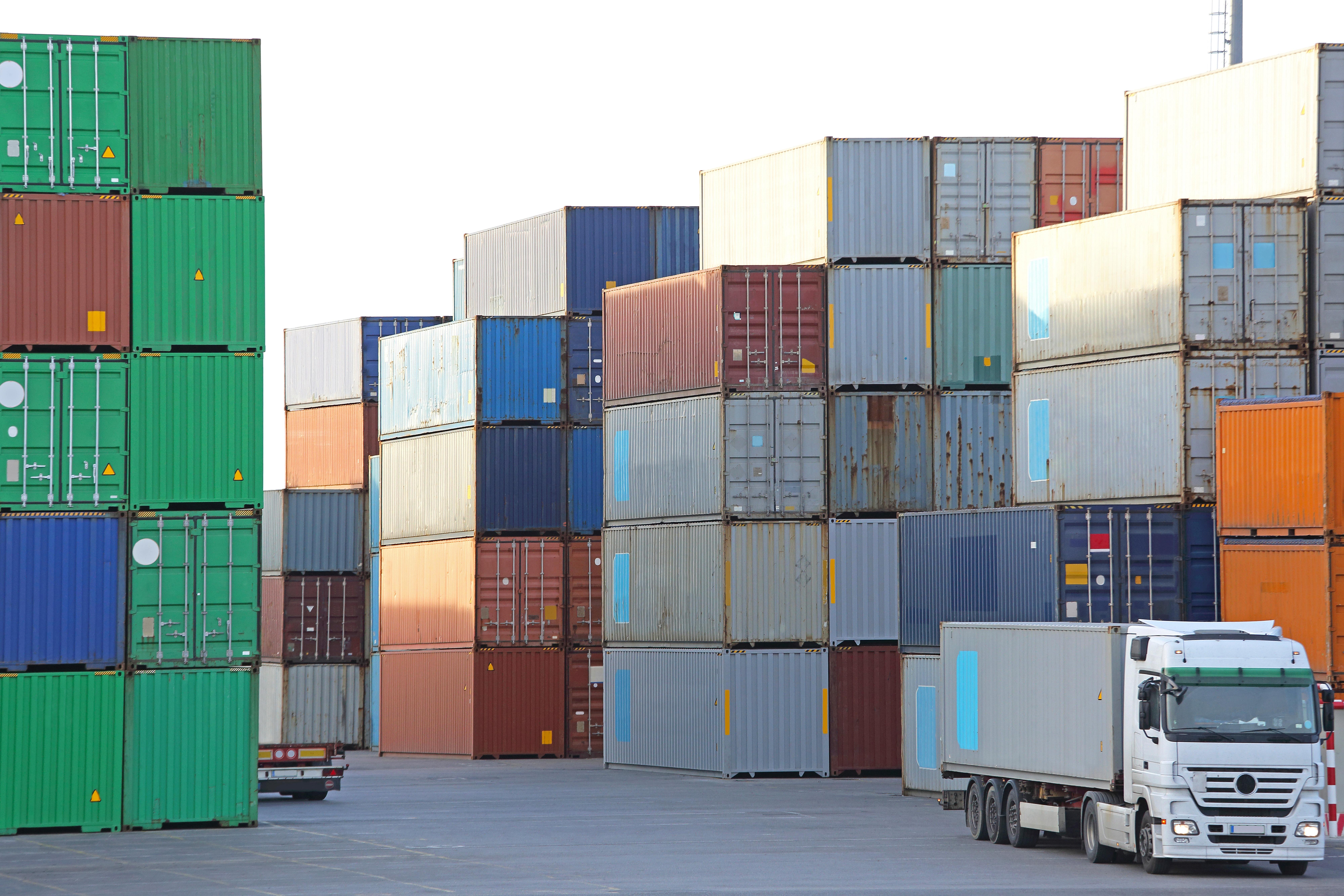 Truck at shipping yard