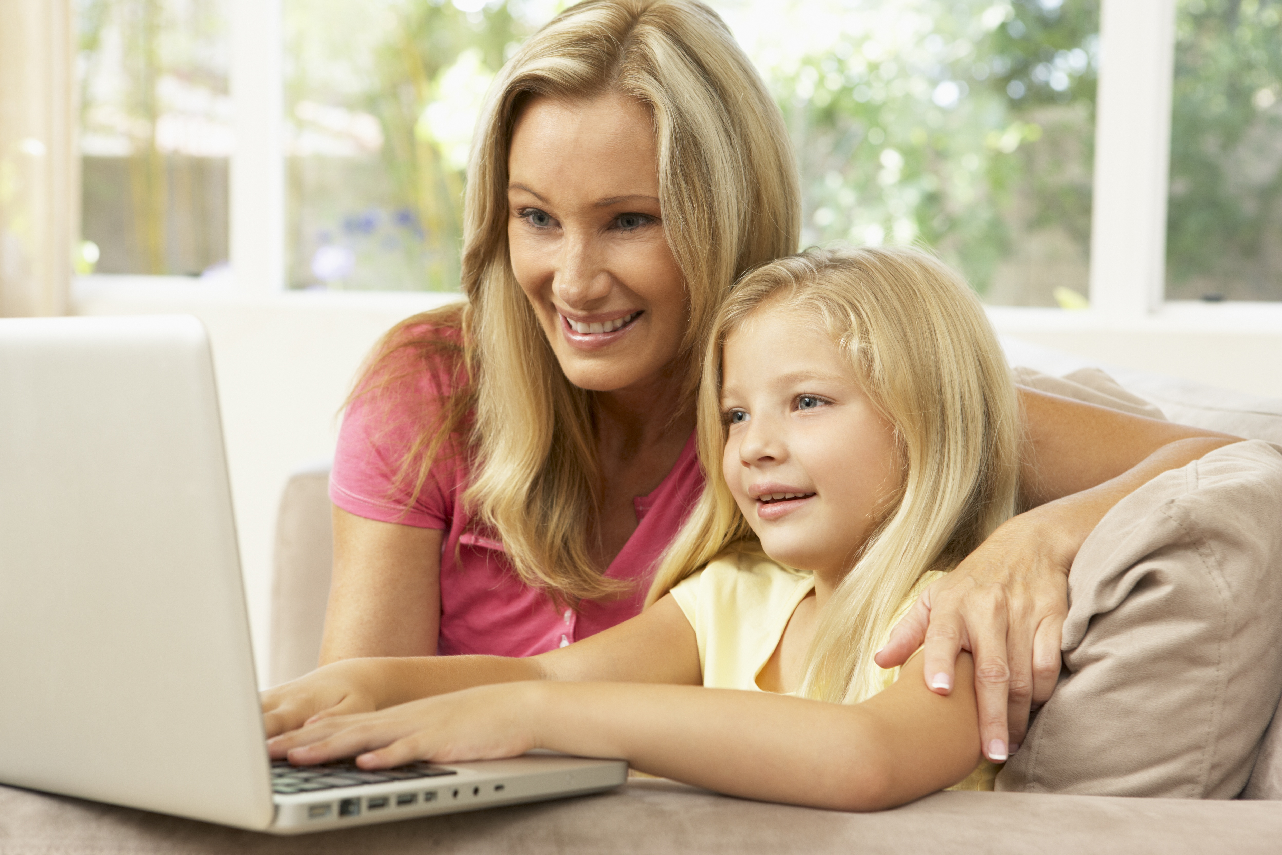 Family connecting on computer