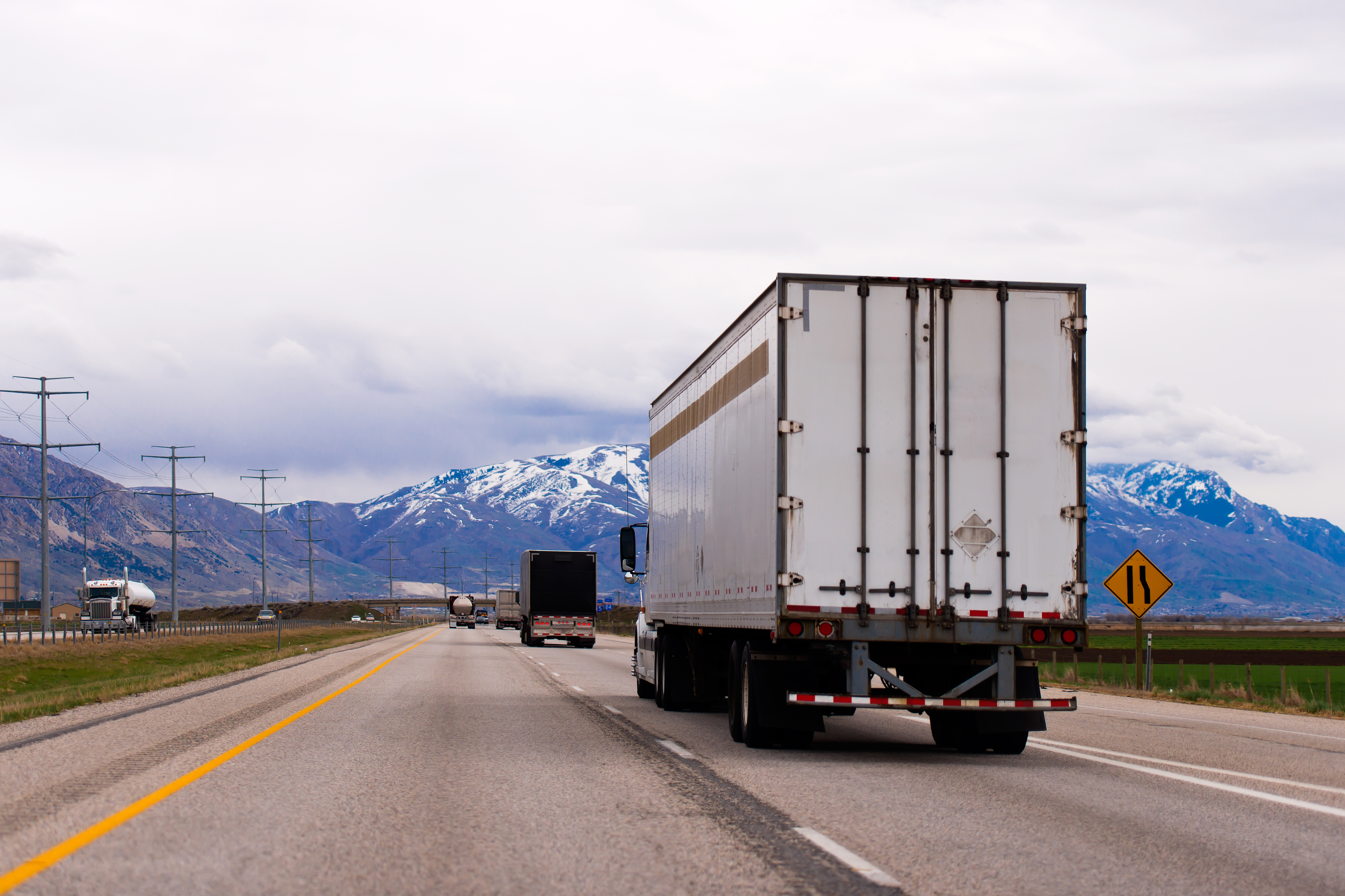 truck driving into the distance