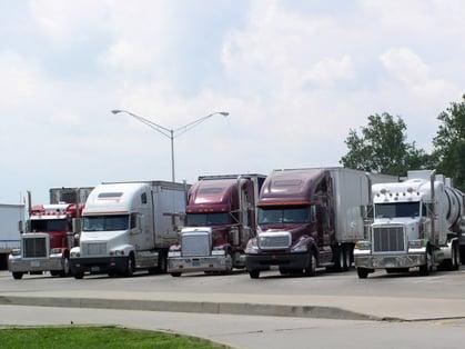 Trucks taking a break a a truck stop