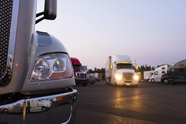 Trucks at a Truck Stop