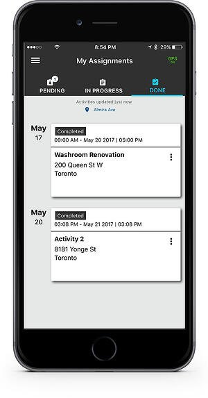 Fleet Complete Task Tracker app on iPhone featuring Completed tabs on the screen.