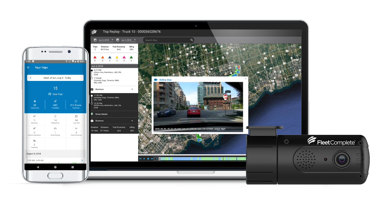 Fleet Complete Vision screenshots laptop and phone and dashcam.